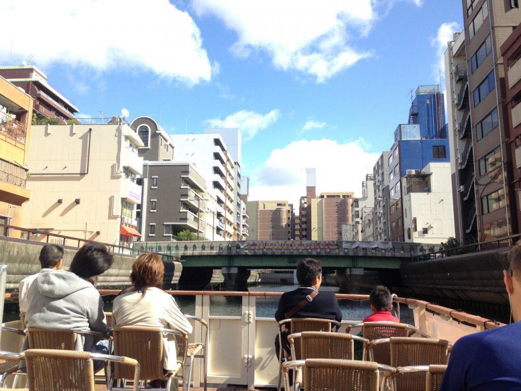 道頓堀からでているフェリーにのって大阪城公園へ