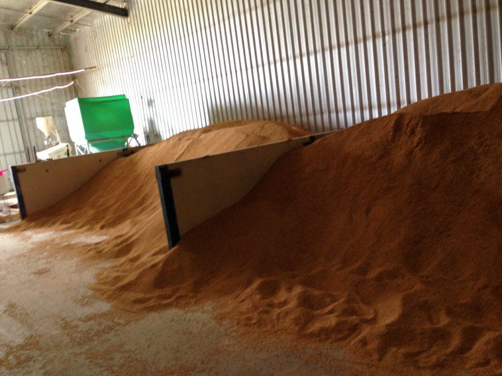 大きな倉庫の中にはコシヒカリをはじめ4種類の米を保存しています。