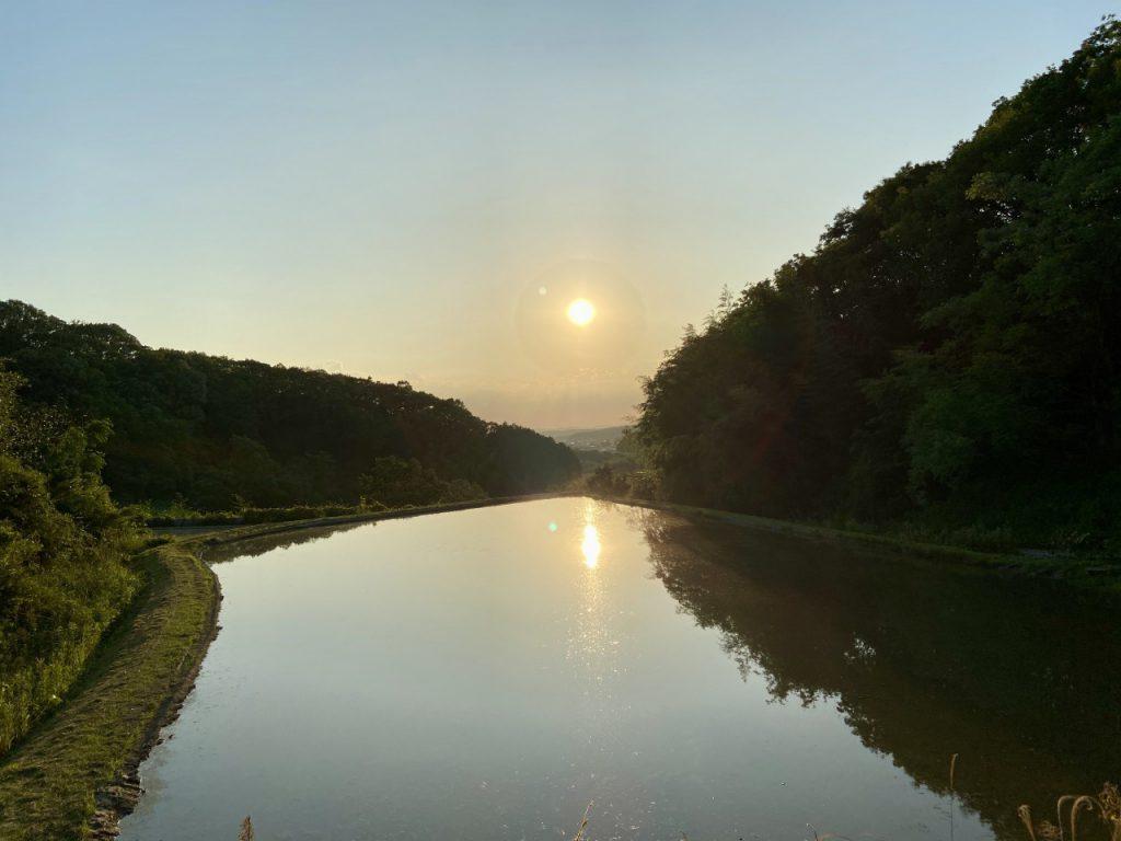 田んぼから見える夕日