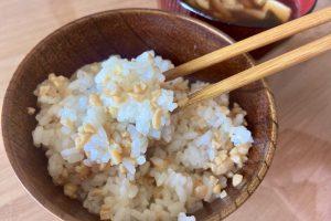 新米とひきわり納豆